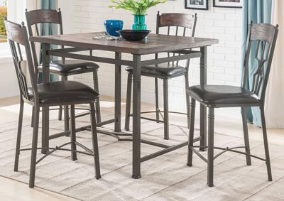 Lynlee Oak Square Counter Height Table w/4 Side Chairs