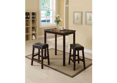 Idris Espresso Counter Dining Set (Set of 3)