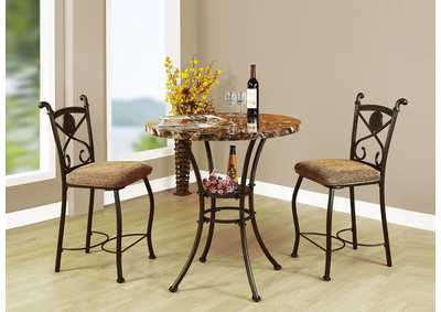Kleef Brown Counter Dining Set (Set of 3)