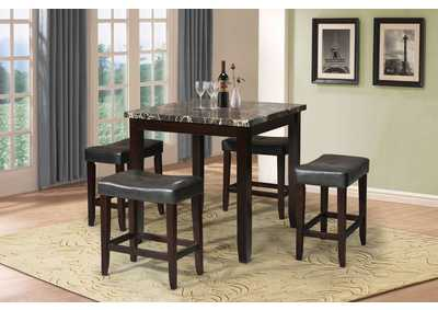 Ainsley Black Faux Marble & Espresso 5 Piece Counter Height Set