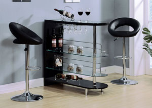 Image for Yashvin Black/Chrome Bar Table