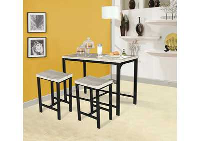 Mira Birch/Black Counter Dining Set (Set of 3)