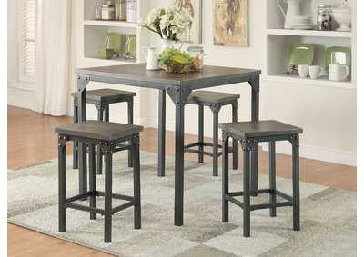 Image for Percie Oak/Black Counter Dining Set (Set of 5)