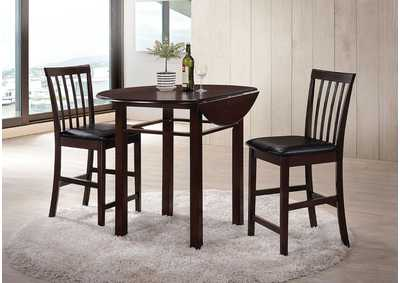 Artie Espresso & Black PU 3 Piece Counter Height Dining Set