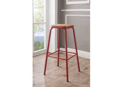 Image for Scarus Natural/Red Bar Stool (Set of 2)