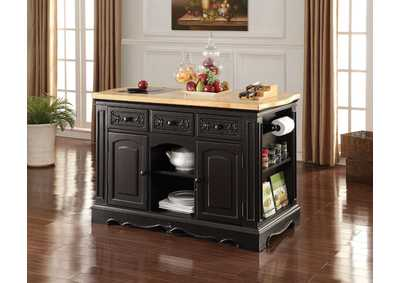 Image for Ariuk Antique Black Kitchen Cabinet