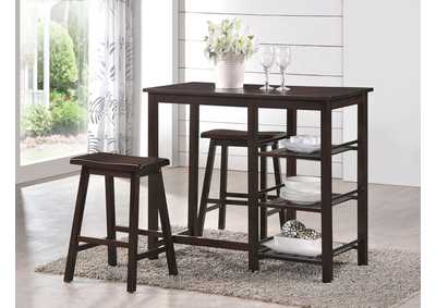 Image for Nyssa Walnut Counter Dining Set (Set of 3)