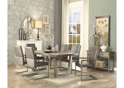 Lazarus Weathered Oak Antique Silver Dining Table Robinson