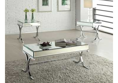 Image for Yuri Mirrored Top and Chrome Coffee Table