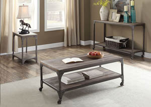Image for Gorden Oak/Nickel Console Table