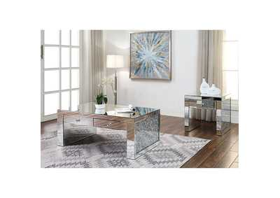 Noralie Mirrored Faux Diamonds Coffee Table