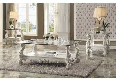 Versailles Bone White & Clear Glass Coffee Table