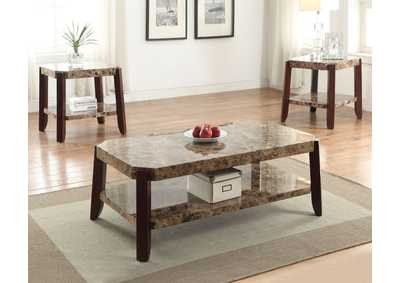 Dacia Faux Marble & Brown Coffee Table