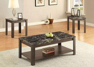 Afton Faux Marble & Walnut 3Pc Pk Coffee/End Table Set