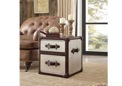 Aberdeen Vintage Dark Brown TGL & Aluminum End Table