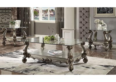 Versailles Antique Platinum Coffee Table w/Glass Top & Open Shelf