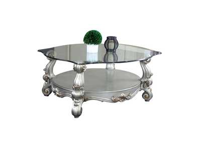 Versailles Antique Platinum Square Coffee Table w/Glass Top & Open Shelf