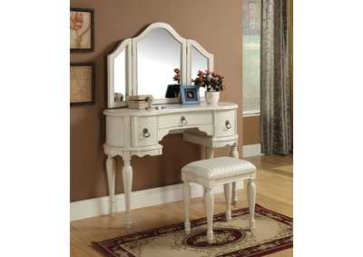 Trini White Vanity Desk w/Mirror and Stool