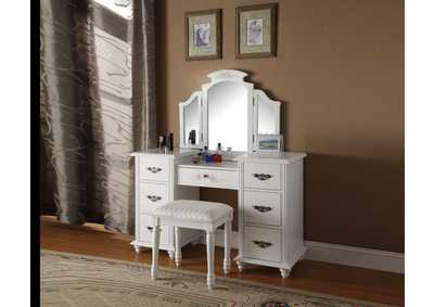 Torian White Vanity Desk w/Mirror and Stool