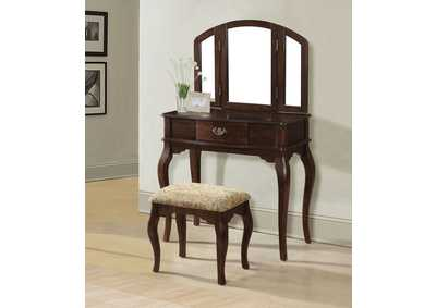 Image for Maren Cherry Vanity Desk w/Mirror and Stool