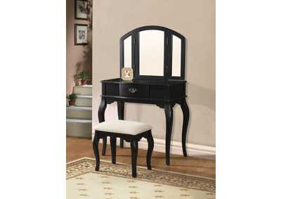Image for Maren Black Vanity Desk w/Mirror and Stool
