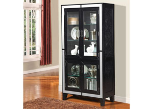 Caree Black Crocodile PU Curio Cabinet
