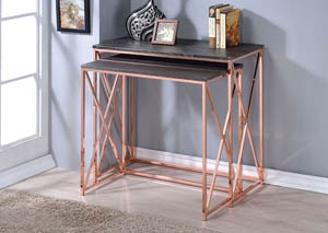 Deona Weathered Dark Gray & Rose Copper 2 Piece Desk Set