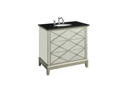 Image for Dinia Black Marble/Mirrrored Sink Cabinet