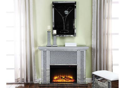Nowles Silver Electric Fireplace