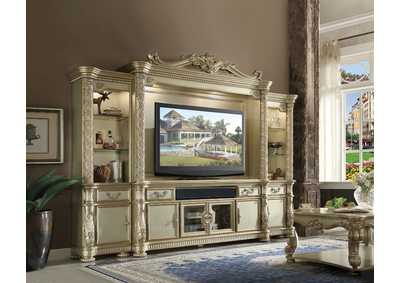 Vendome II Gold Patina & Bone Entertainment Center