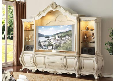 Ragenardus Antique White Entertainment Center