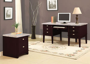 Britney White Marble & Walnut Office Desk