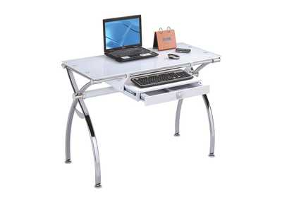 Retro Chrome & White Glass Computer Desk
