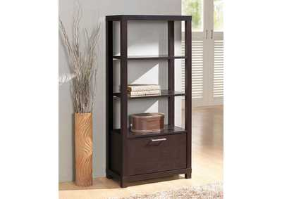 Carmeno Espresso Bookcase w/3 Shelves & Door