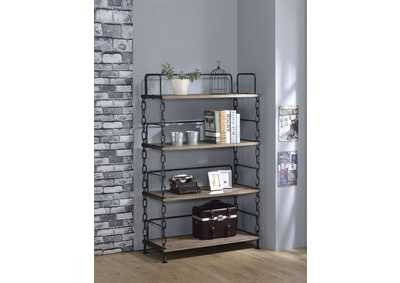 Image for Jodie Rustic Oak/Antique Black Bookshelf