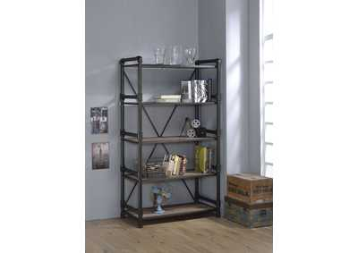 Caitlin Rustic Oak & Black Bookshelf