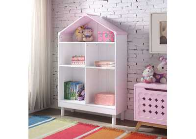 Doll Cottage White/Pink Bookcase