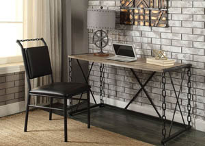 Jodie Rustic Oak & Antique Black Desk