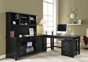 Pandora Black Office Cabinet w/Hutch