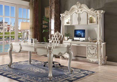 Versailles Bone White Computer Desk & Hutch