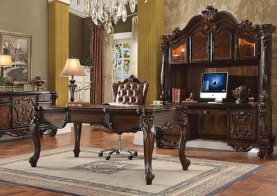 Versailles Cherry Oak Computer Desk and Hutch