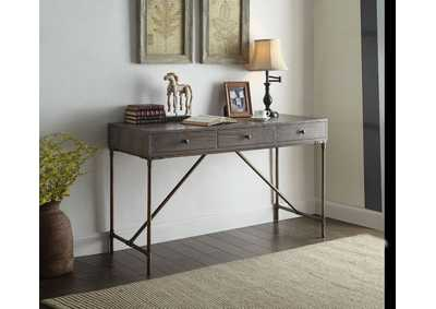 Glora Dark Oak & Antique Bronze Desk