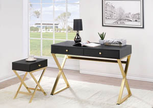 Coleen Black & Brass Desk