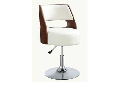 Camila White Leather Backed Adjustable Stool w/Arms