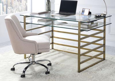 Image for Shona Antique Gold/Clear Glass Desk
