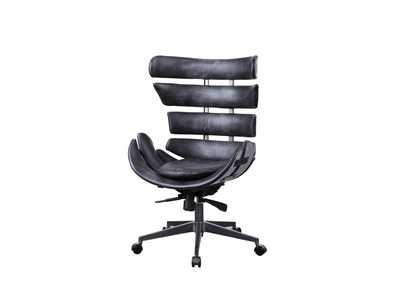 Megan Vintage Black/Aluminum Office Chair