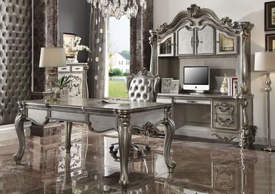 Versailles Antique Platinum Computer Desk & Hutch