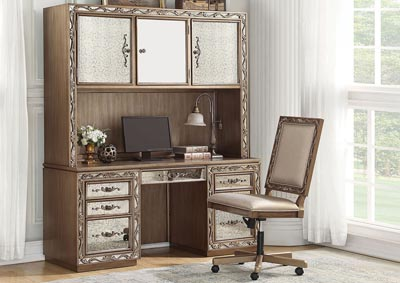 Orianne Antique Gold Computer Desk & Hutch