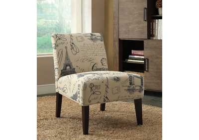 Reece Fabric & Espresso Accent Chair