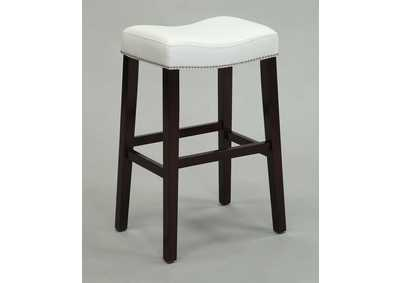Lewis White PU & Espresso Counter Height Stool (Set of 2)